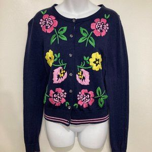 Lilly Pulitzer M Navy Blue Flowers Cardigan